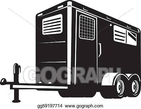 Horse trailer clipart clip art royalty free download Stock Illustration - Horse trailer viewed from low angle ... clip art royalty free download