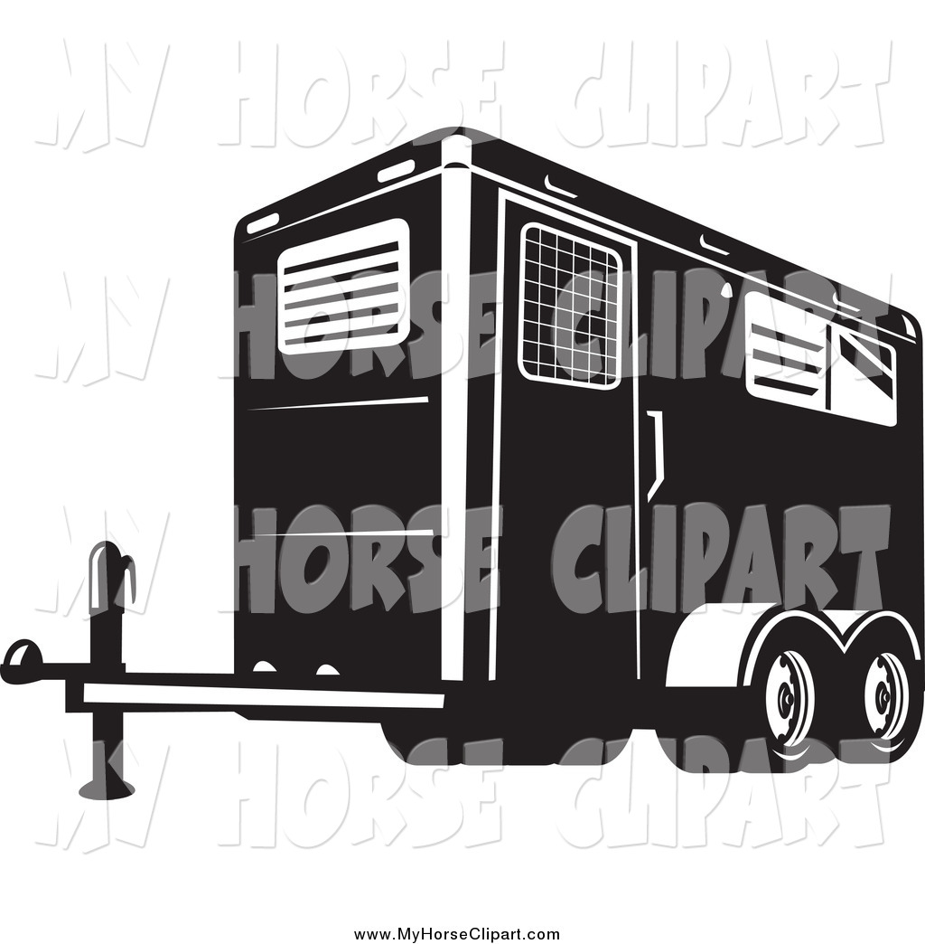 Horse trailer clipart vector freeuse library Clip Art of a Black and White Horse Trailer by patrimonio ... vector freeuse library