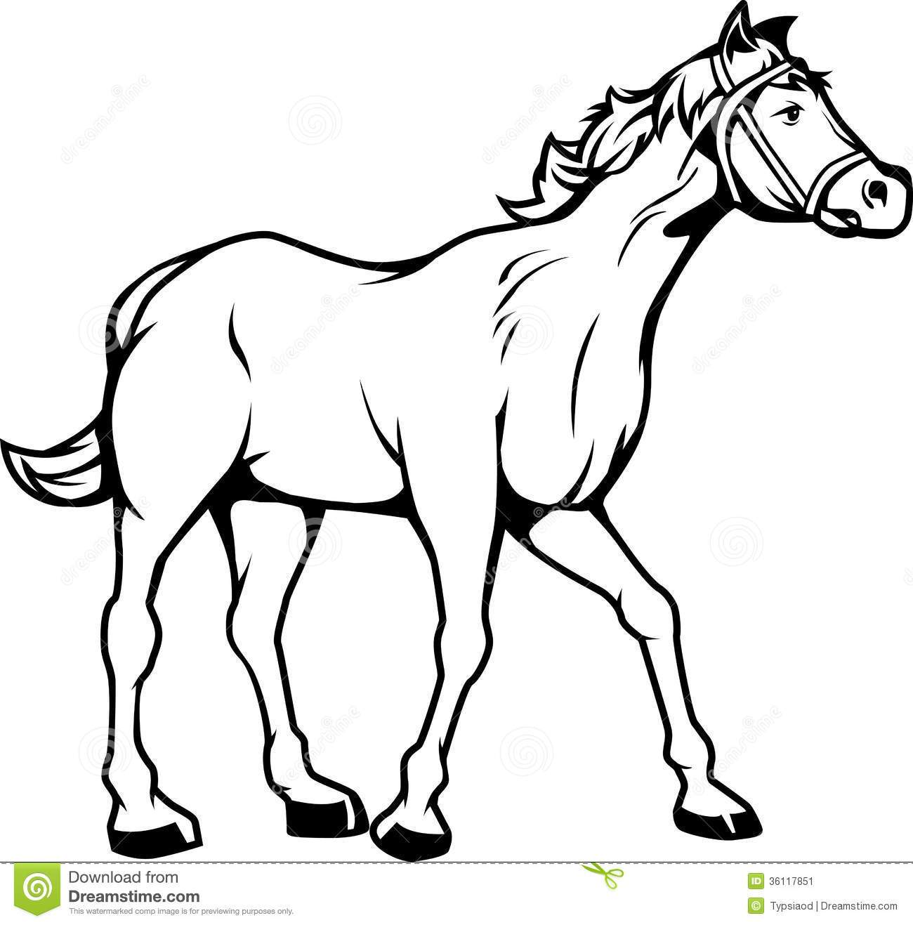 Horses black and white clipart clip black and white stock Black and white clipart of horse 3 » Clipart Portal clip black and white stock
