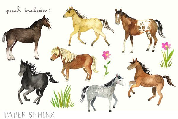 Horses clipart images graphic royalty free stock Watercolor Horses Clipart Pack - Illustrations - 2 ... graphic royalty free stock