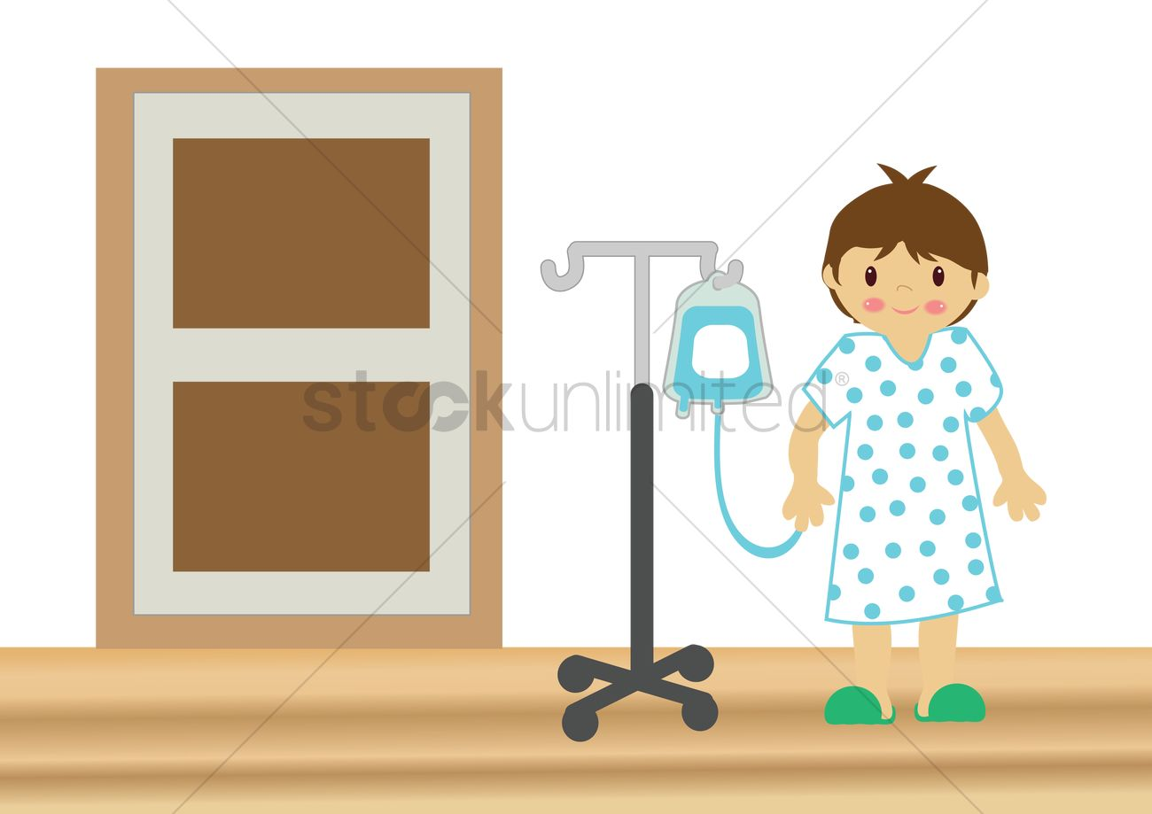 Hospital gown clipart black and white stock Iv bag attached to patient in hospital gown Vector Image ... black and white stock