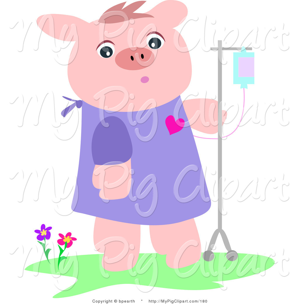 Hospital gown clipart banner royalty free Swine Clipart of a Recovering Pink Pig in a Hospital Gown ... banner royalty free