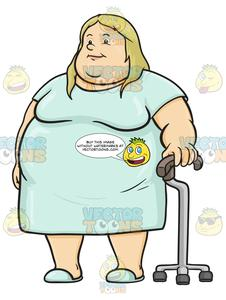 Hospital gown clipart black and white Heavyset Blonde Woman Holding A Cane While Wearing A Hospital Gown black and white