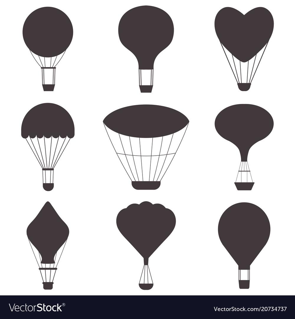 Hot air balloon silhouette clipart vector royalty free Hot air balloons silhouettes Royalty Free Vector Image vector royalty free