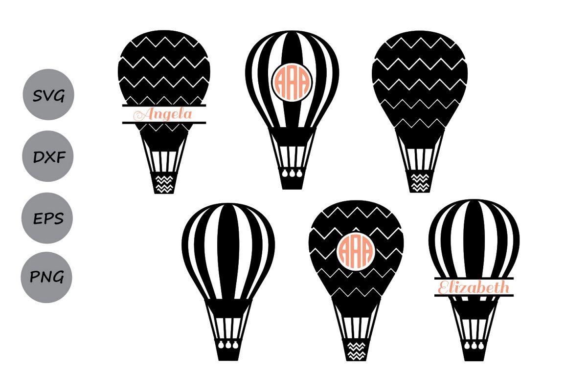 Hot air balloon silhouette clipart clip art black and white stock Hot Air Balloon SVG File, Hot Air Balloon Monogram Svg ... clip art black and white stock