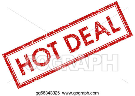 Hot deals clipart black and white library Stock Illustrations - Hot deal red square stamp. Stock ... black and white library