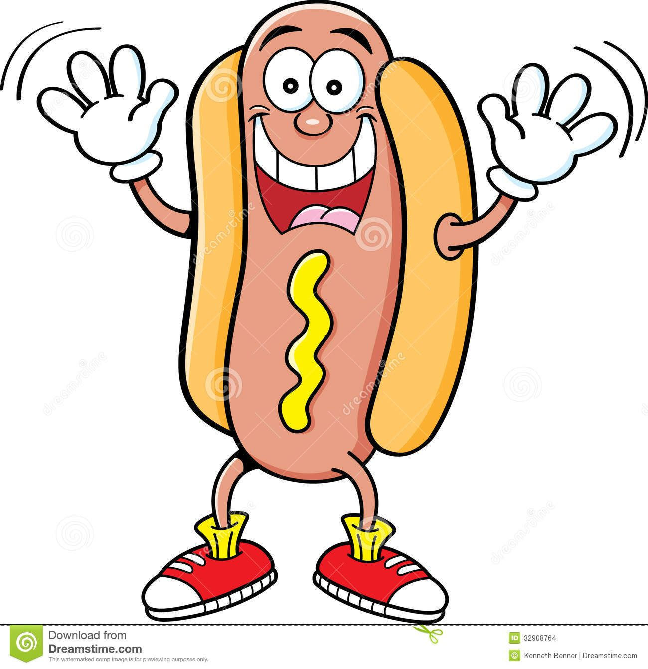 Hot dog cartoon clipart black and white library Cartoon Hotdog Waving Stock Images - Image: 32908764 ... black and white library