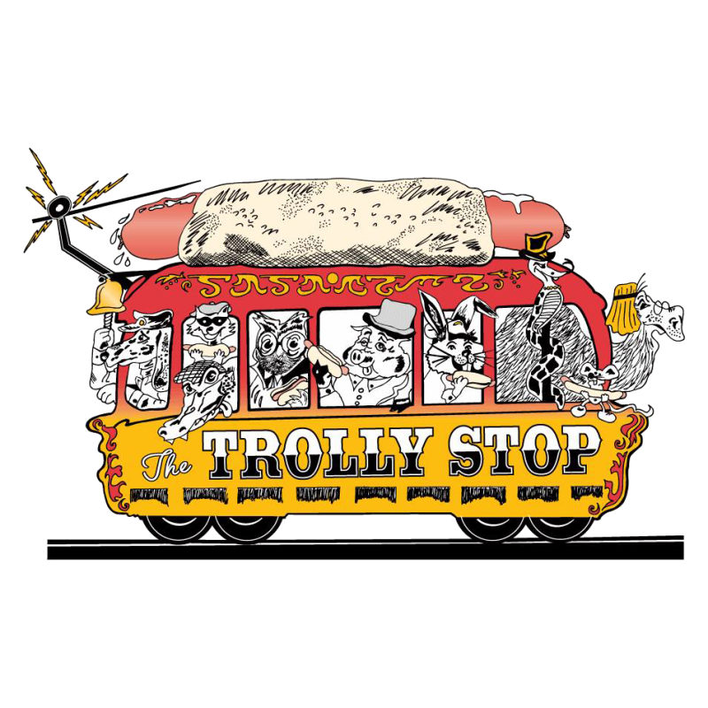 Hot dog chips soda clipart graphic black and white library Trolly Stop Hot Dogs Delivery - 104 W Franklin St Chapel Hill ... graphic black and white library