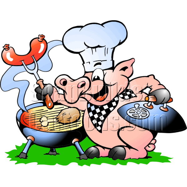 Hot dog grilling clipart jpg freeuse stock Chef Pig BBQ Grill Cooking Hotdogs & Chicken jpg freeuse stock