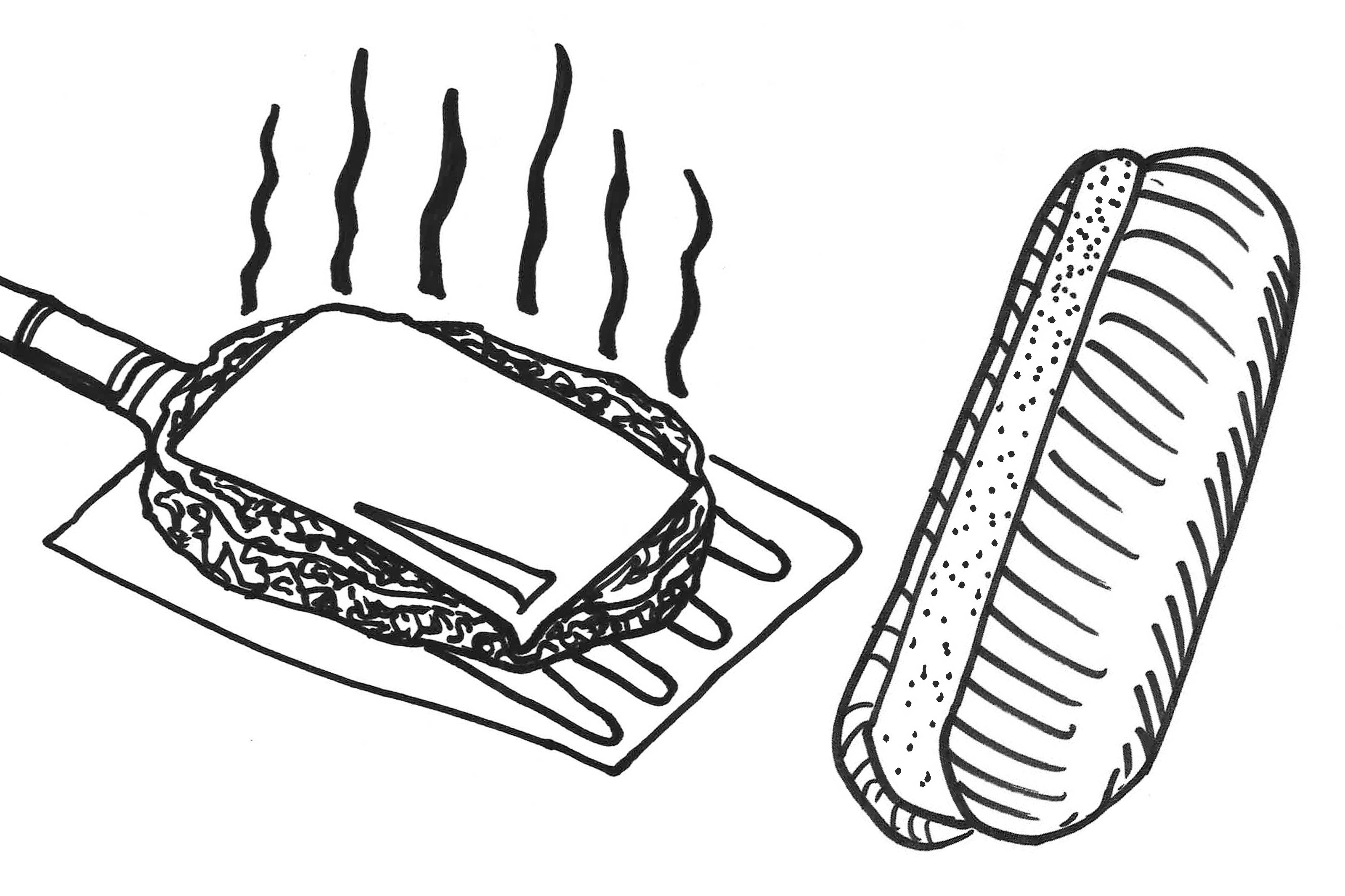 Hot dog in a bun line drawing clipart image royalty free stock What\'s the Correct Way to Eat a Hamburger on a Hot Dog Bun ... image royalty free stock