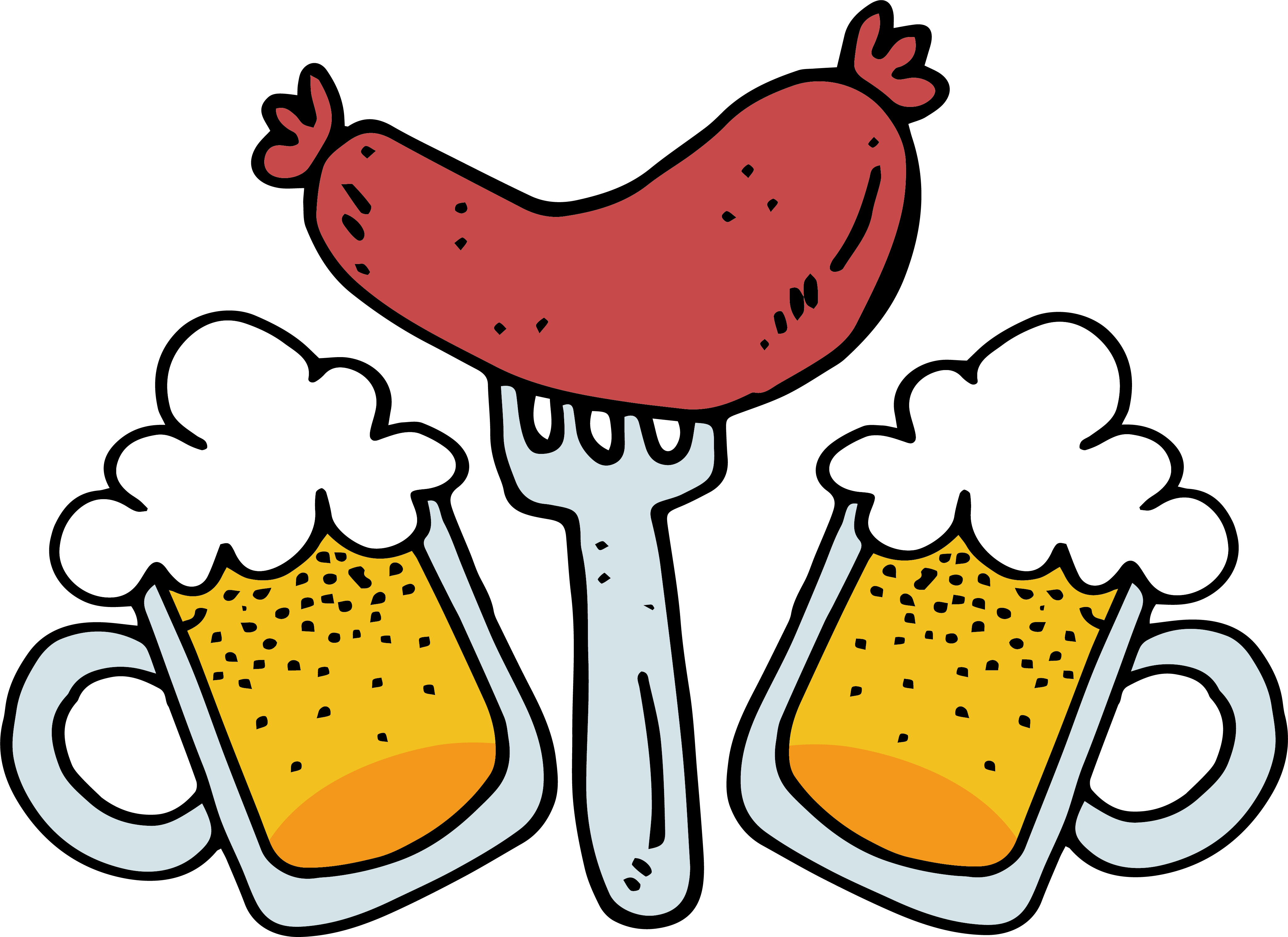 Roasting hot dog clipart graphic royalty free Sausage Beer Oktoberfest Bratwurst Hot dog - Beer sausage 4178*3041 ... graphic royalty free