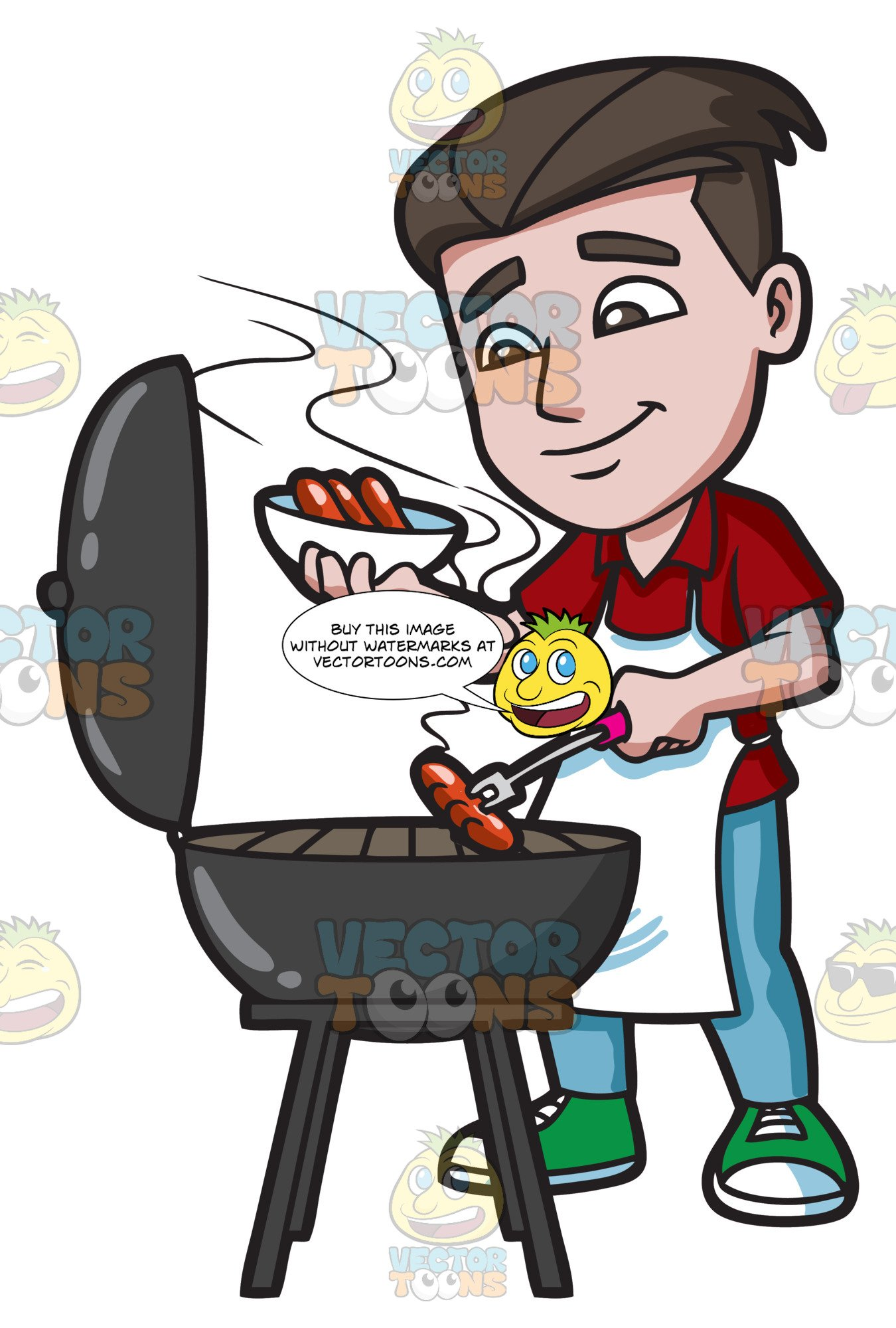 Hot dog wearing chef hat clipart png royalty free A Man Cooking Hot Dogs On The Grill royalty free