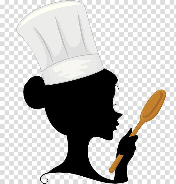 Hot dog wearing chef hat clipart png svg royalty free library A woman chef with a spoon in her hand transparent background ... svg royalty free library