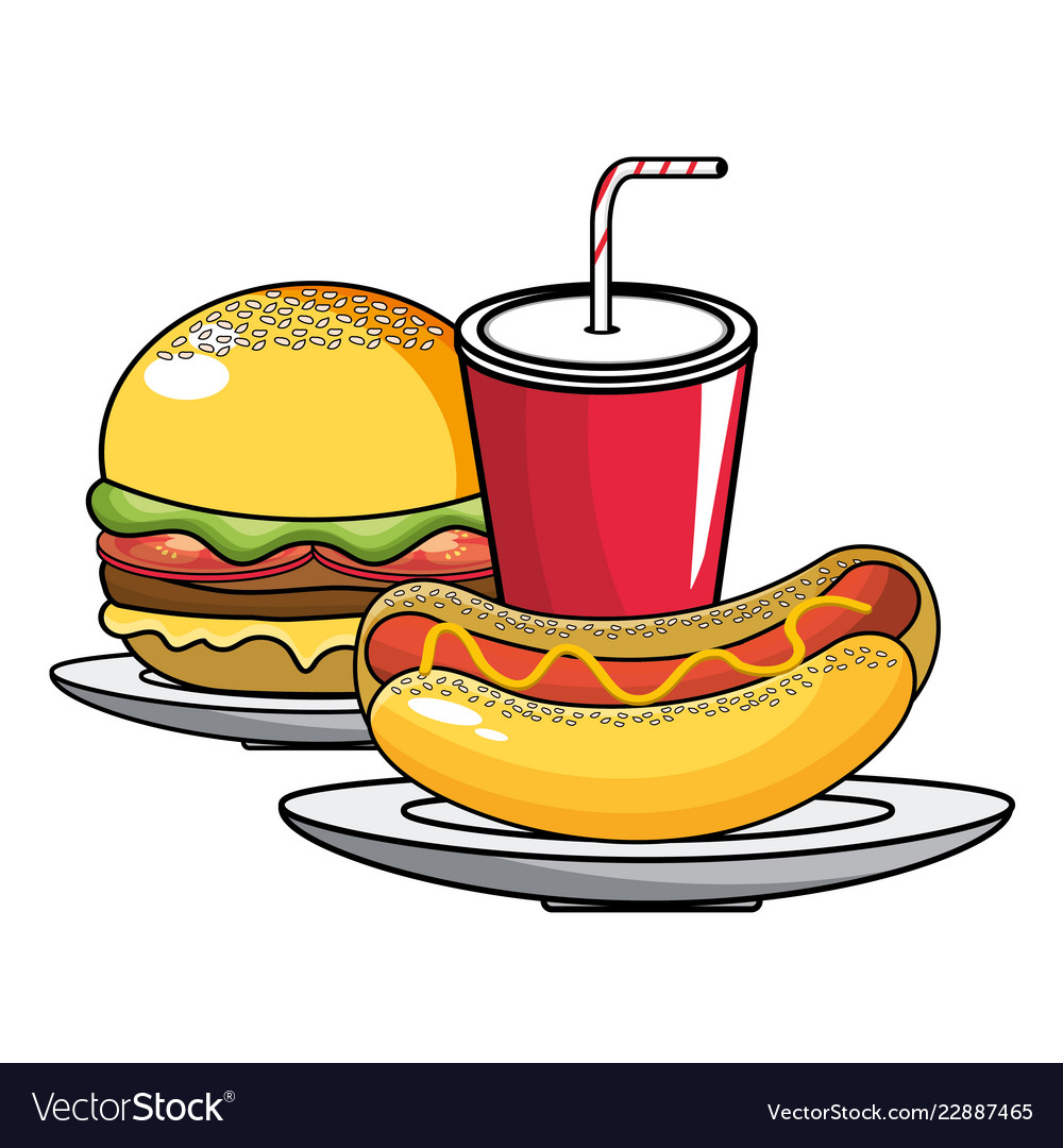 Hot dogs and hamburgers clipart image library download Hot dog hamburger and soda design image library download