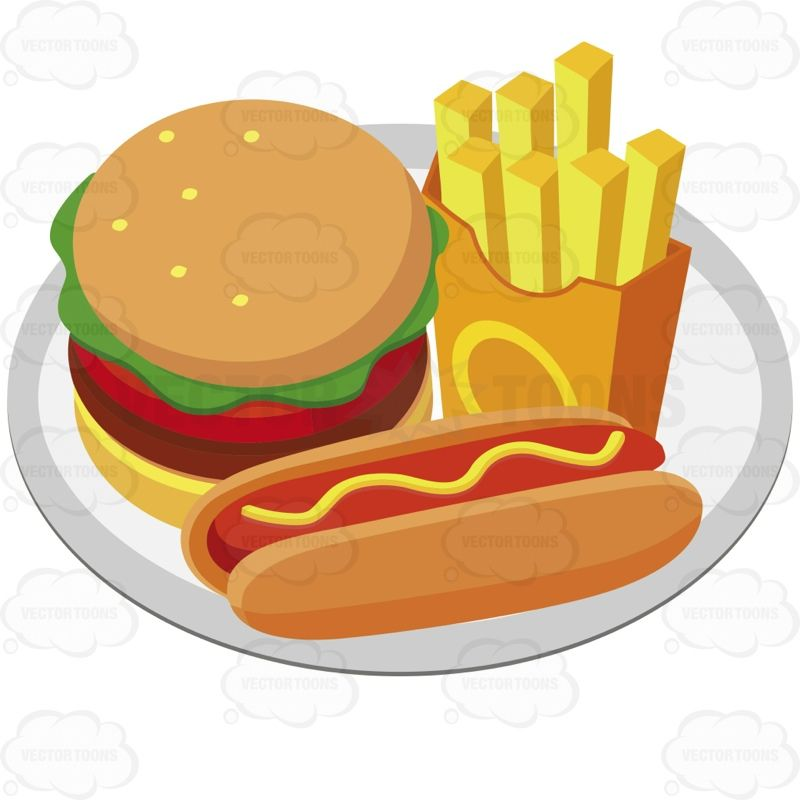 Hot dogs and hamburgers clipart picture free Plate With A Hamburger French Fries And A Hot Dog With ... picture free