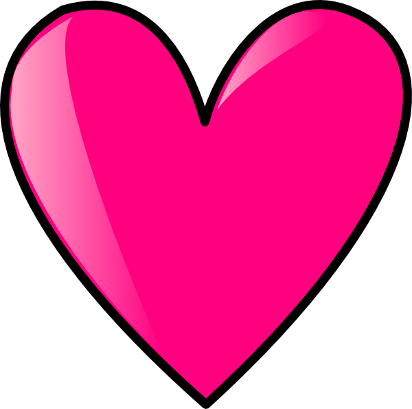 Hot pink clipart picture black and white stock Hot Pink Heart Clip Art at Clker.com - vector clip art ... picture black and white stock