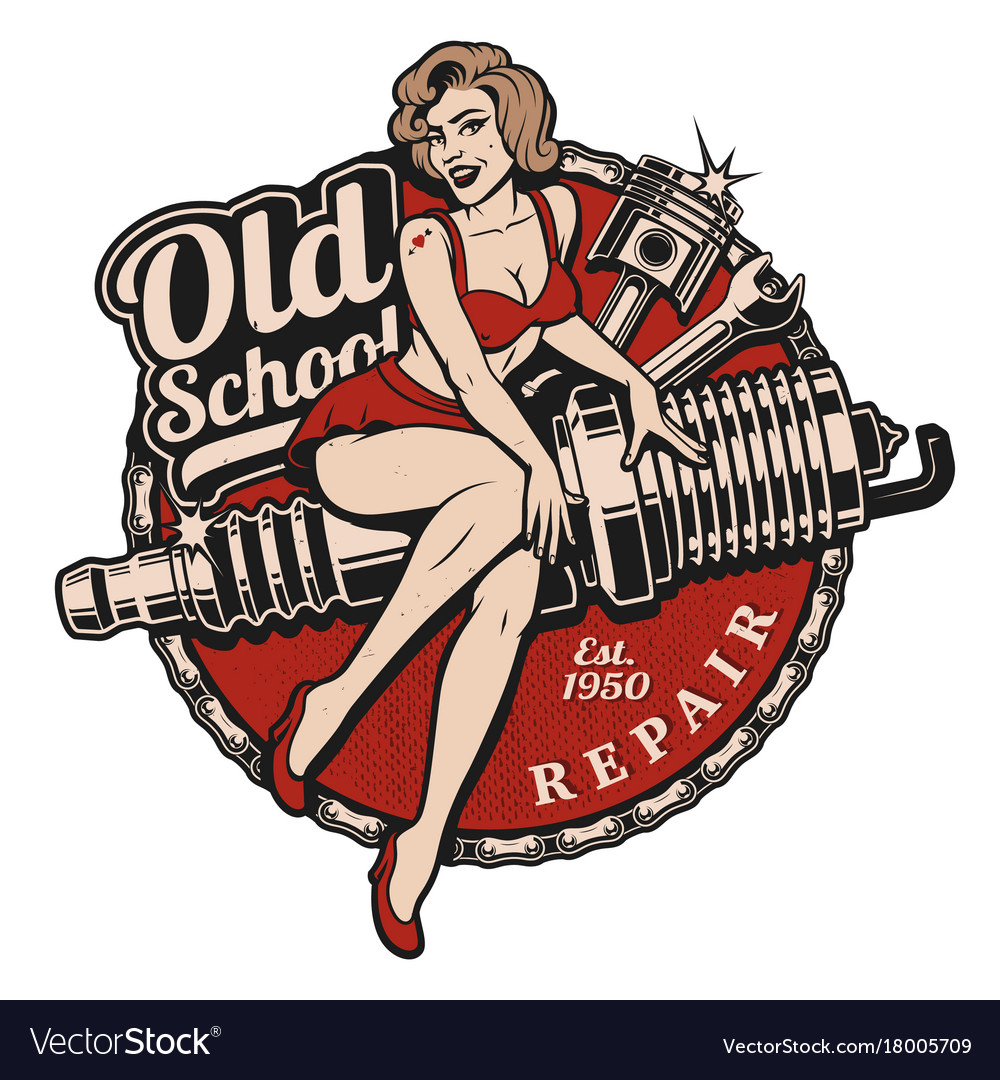 Hot rod pin up girl clipart free vector free stock Spark plug pin up girl color version vector free stock