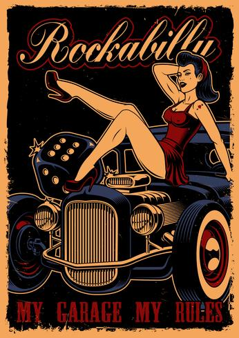 Hot rod pin up girl clipart free picture library download Vintage poster with pin up girl and classic car - Download ... picture library download