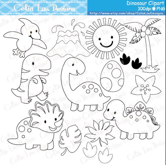 Hot summer dinosaur clipart black and white picture freeuse library Dinosaur Digital Clipart / Cute Dinosaur Clip Art / Dinosaur ... picture freeuse library