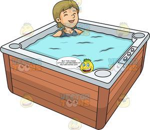 Hot tub blue print clipart clipart A Woman Relaxing In A Hot Tub clipart
