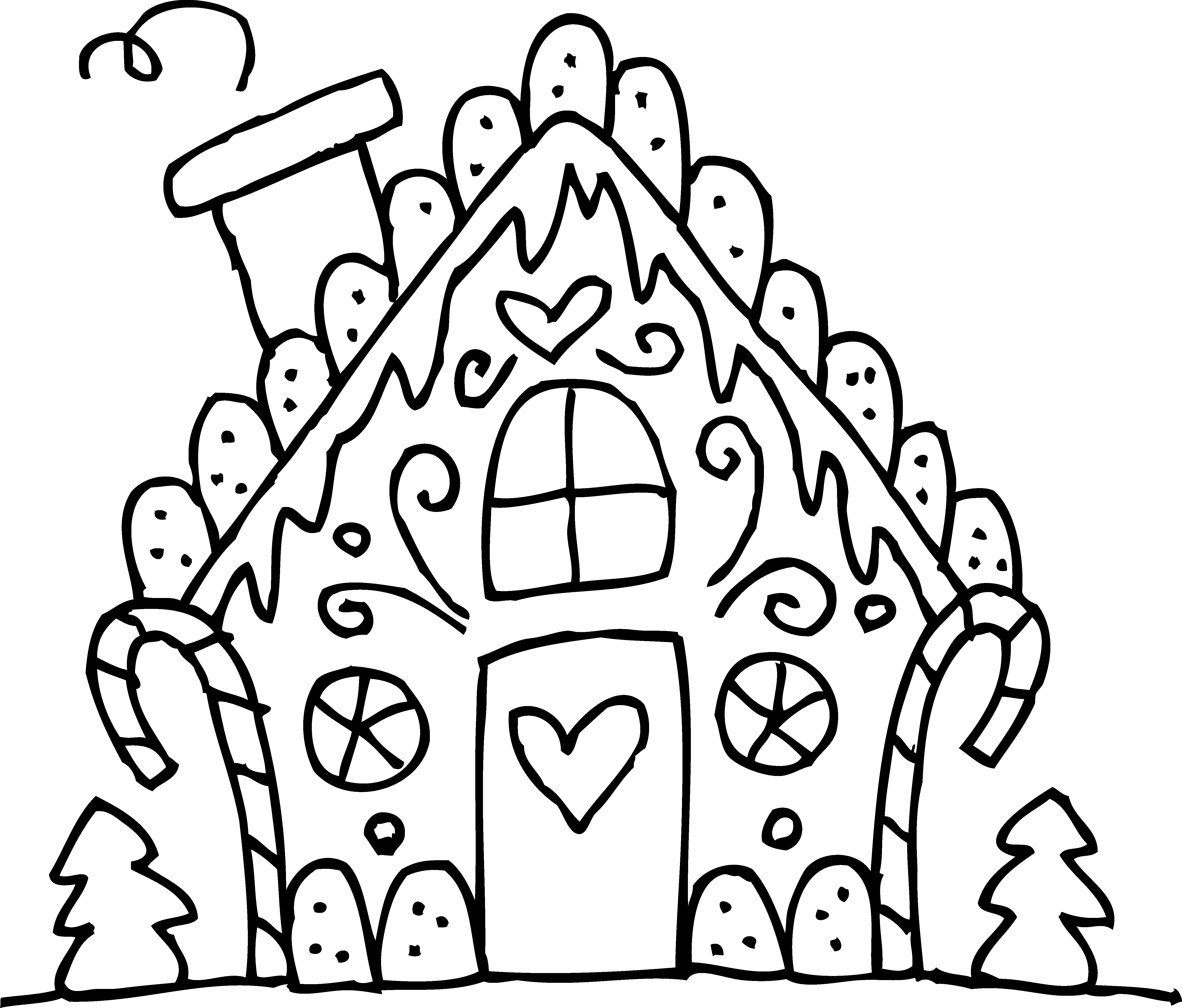 Gingerbread house clipart free jpg royalty free Gingerbread House Coloring Pages Printable - Printable Coloring ... jpg royalty free
