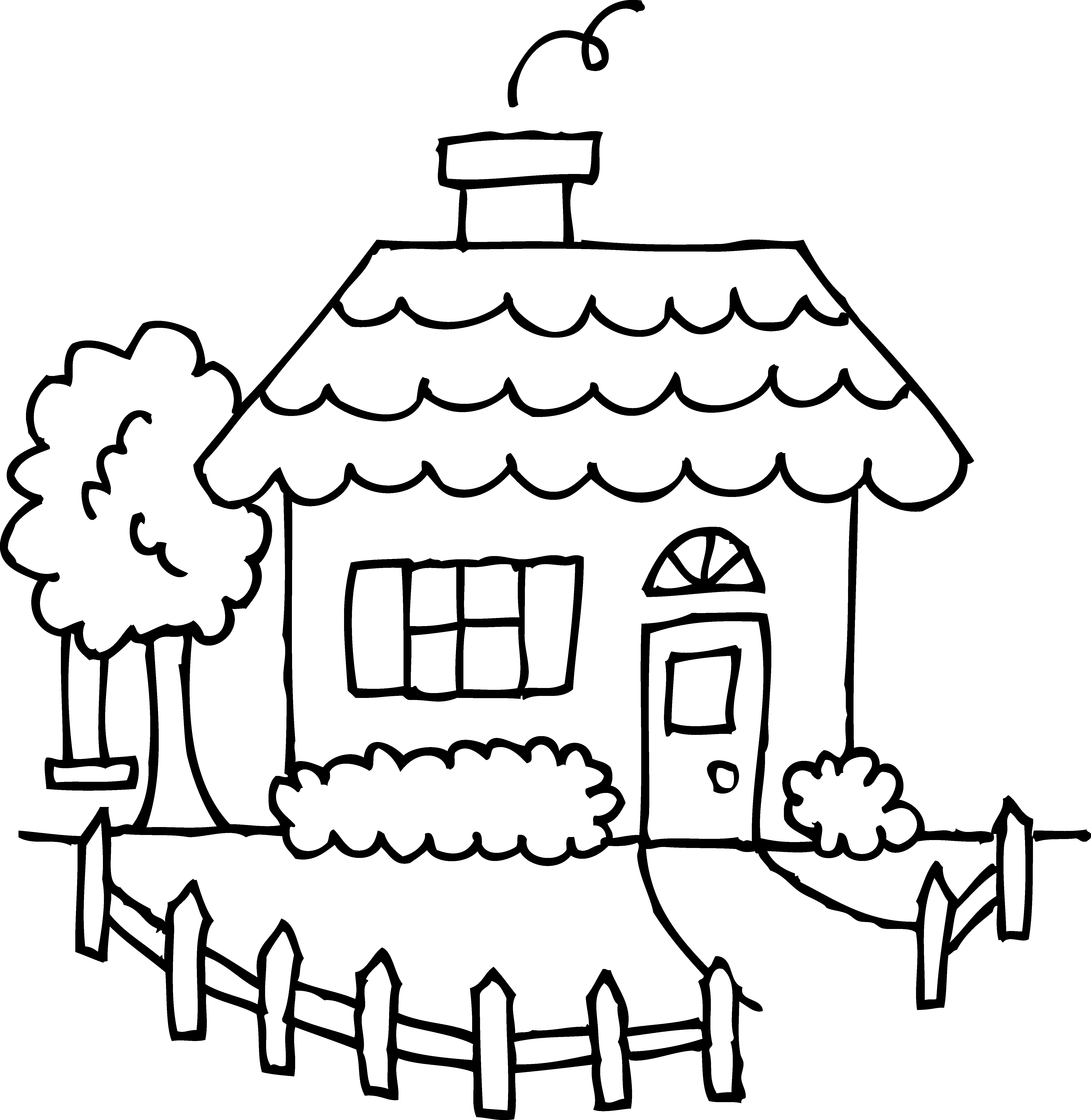 Inside house clipart black and white clip art royalty free library House clipart coloring sheet - ClipartFest clip art royalty free library
