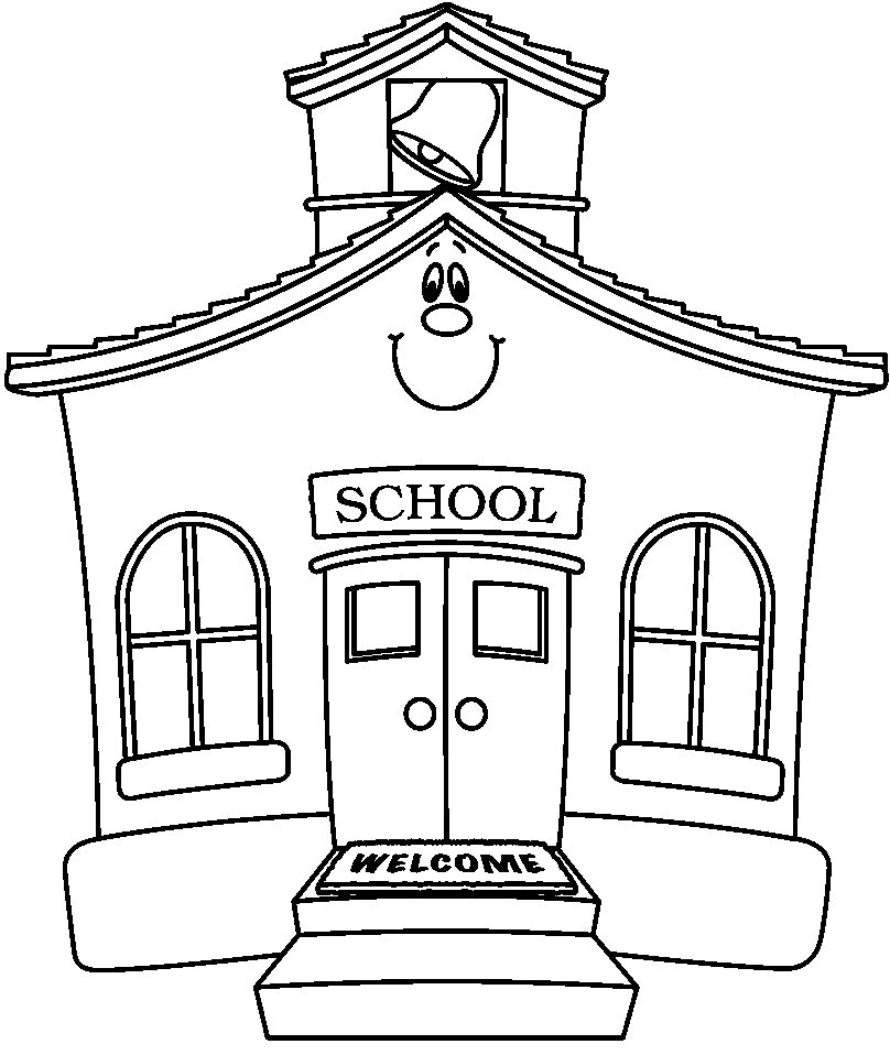 House clipart coloring sheet picture black and white library School House Coloring Pages AZ Coloring Pages for School House ... picture black and white library