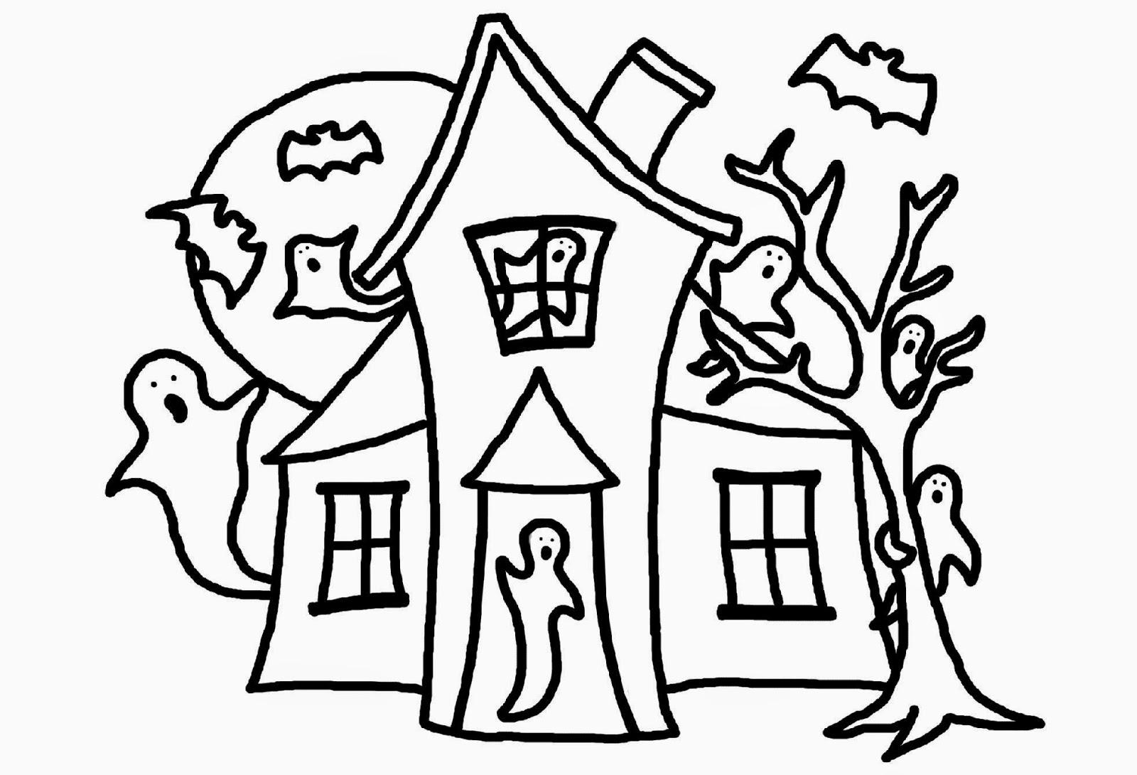 House clipart coloring sheet transparent Haunted House Coloring coloring page, coloring image, clipart images. transparent
