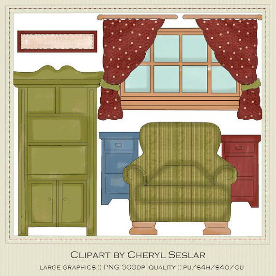 House craft printables windows and door clipart freeuse download NEW Prim Parlor Furniture Exclusive Clipart by by marlodeedesigns ... freeuse download