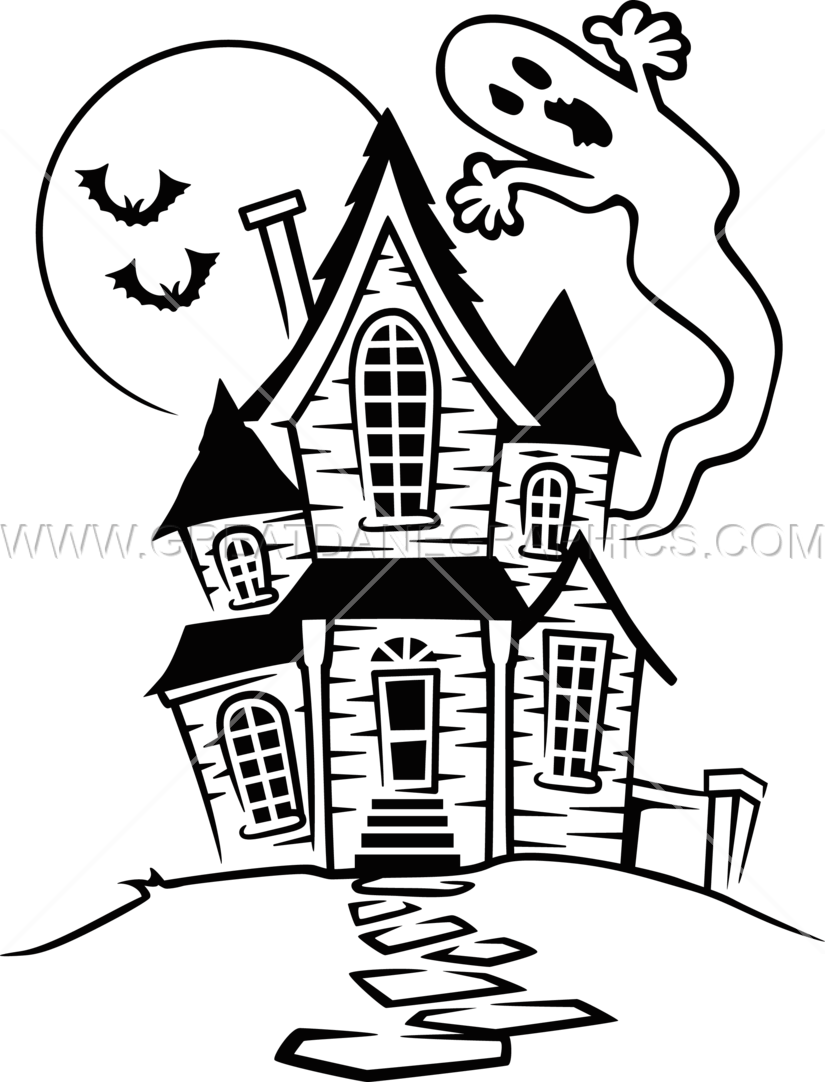 House drawing clipart picture black and white stock 28+ Collection of Haunted House Easy Drawing | High quality, free ... picture black and white stock