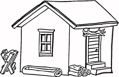 House in the woods clipart black and white vector black and white stock Log Cabin in Wood coloring page | Free Printable Coloring Pages vector black and white stock