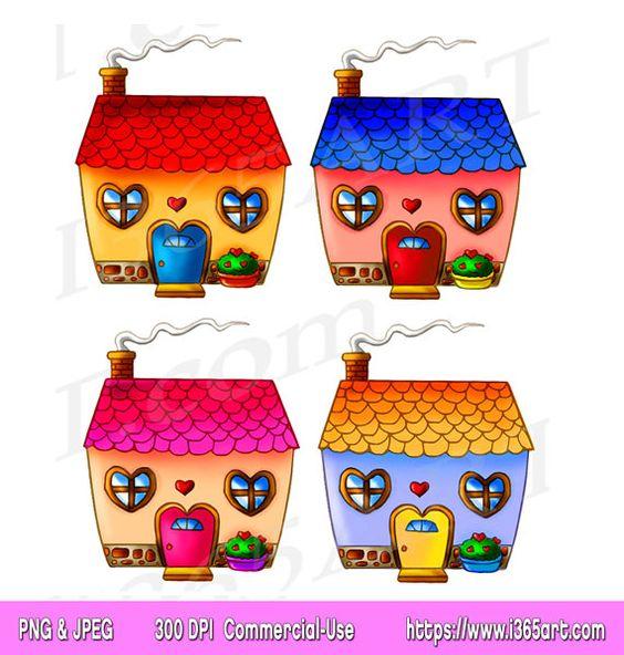 House invitation with hearts clipart jpg royalty free library Cute House Clipart, House Clip art, houses, Home Sweet Home ... jpg royalty free library