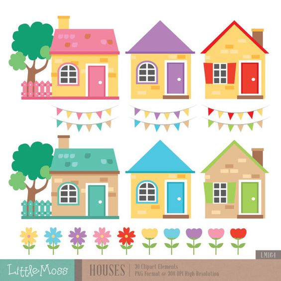 House invitation with hearts clipart clipart royalty free stock Little Houses Digital Clipart | Crafts, Invitations and The o'jays clipart royalty free stock