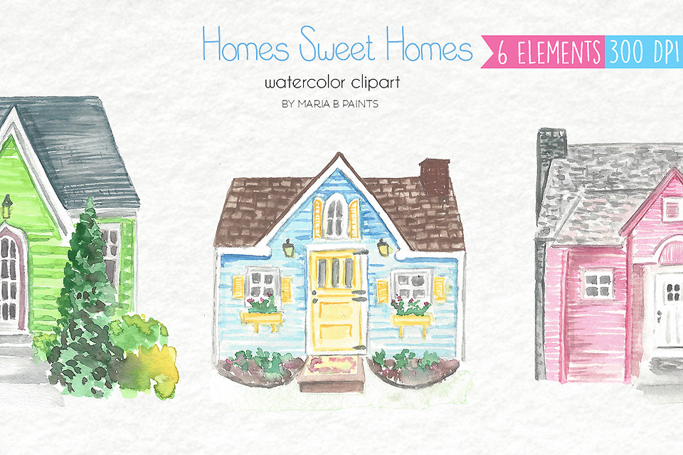 House invitation with hearts clipart png library download House clip art | Etsy png library download