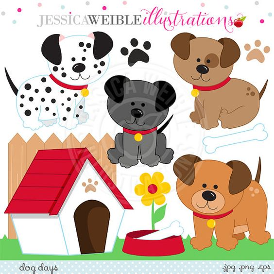 House invitation with hearts clipart image royalty free download Dog Days Cute Digital Clipart for Invitations, Card Design ... image royalty free download