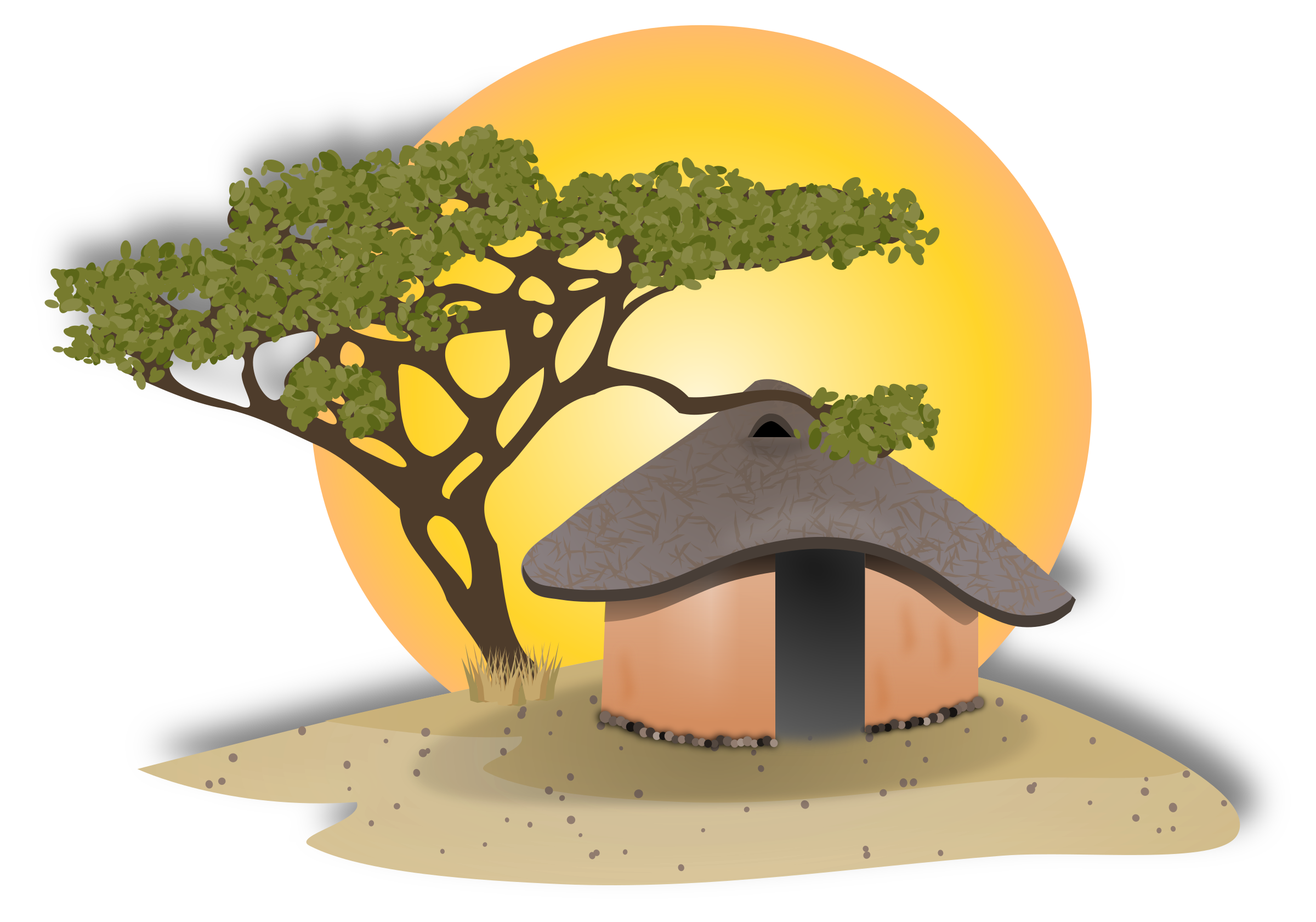 House landscape clipart png library stock Clipart - African Hut png library stock