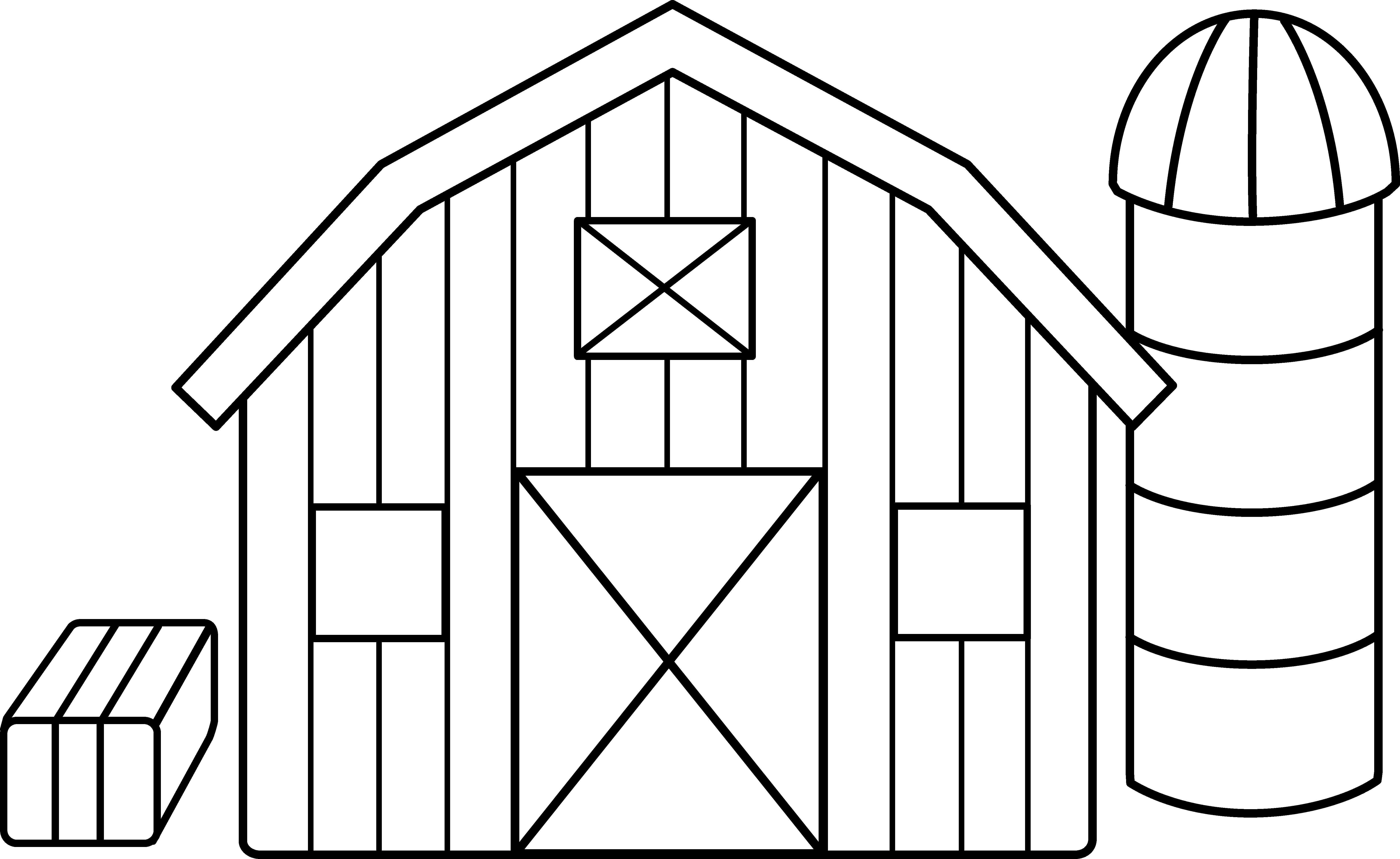 House line art clipart image free download Cute Colorable Farm Scene - Free Clip Art image free download