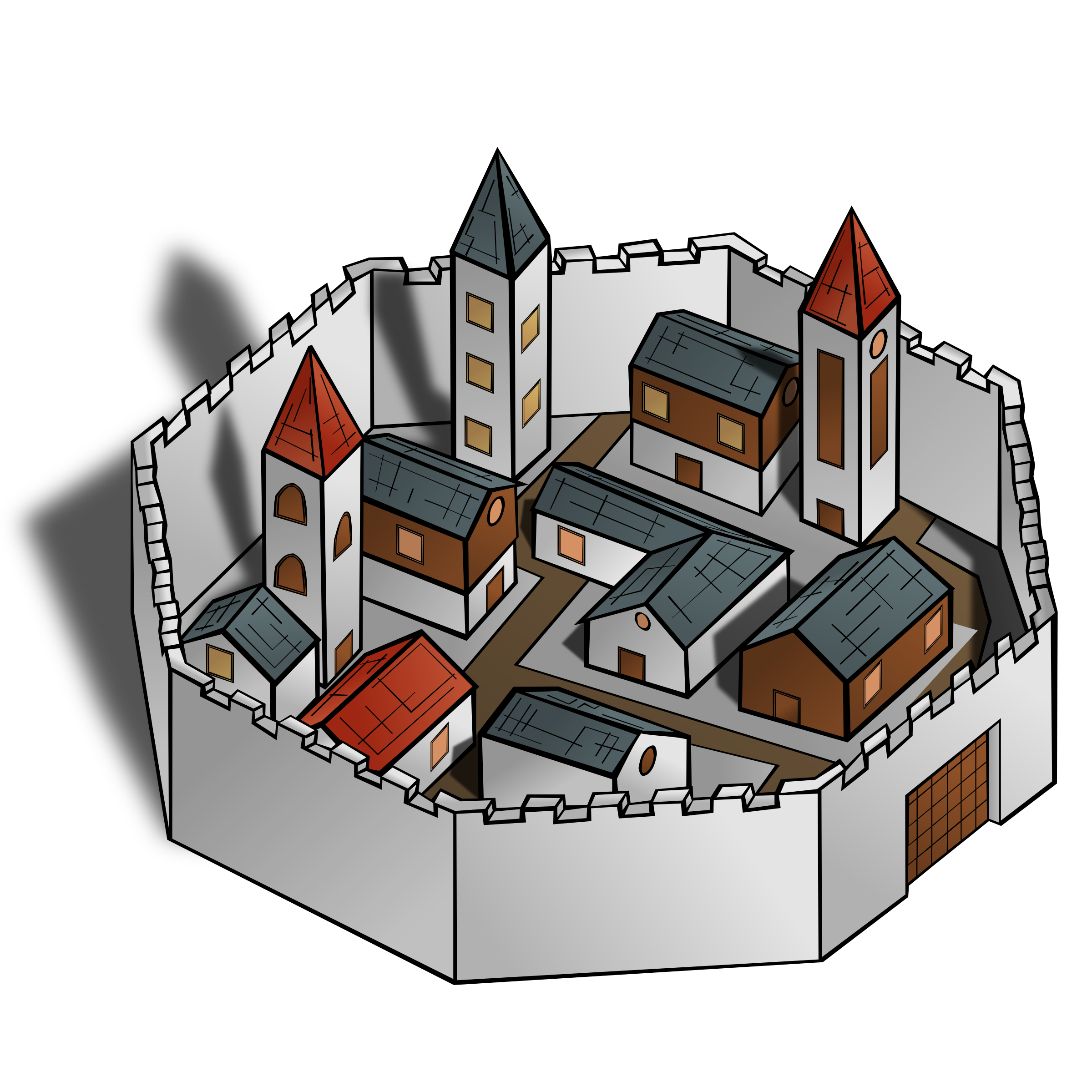 Clipart - RPG map symbols: City vector freeuse