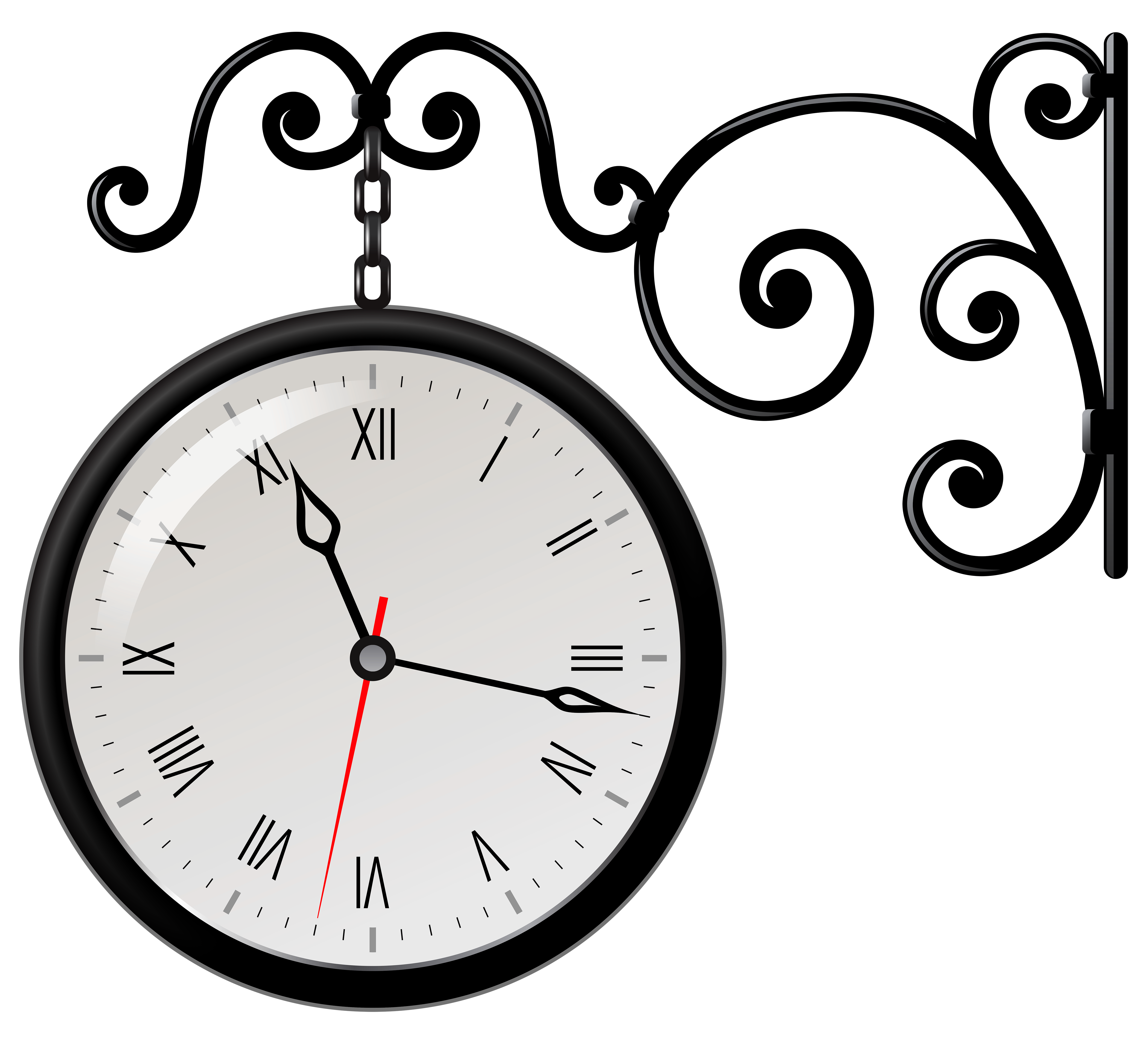 Street Clock PNG Clip Art - Best WEB Clipart banner black and white stock