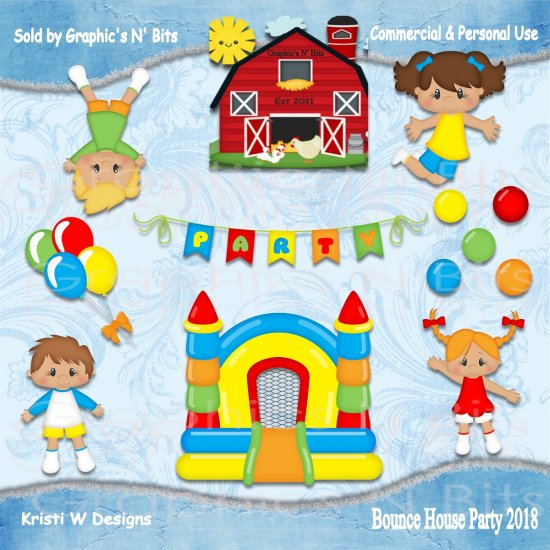 House party 3 clipart picture library library Bounce House Party 2018 Commercial & Personal Use PNG ... picture library library