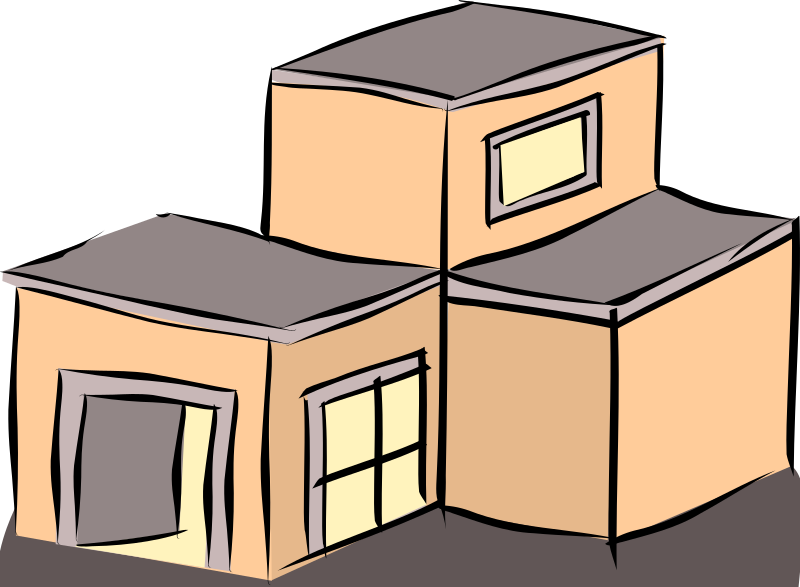 Clipart - Salmon coloured building svg library stock