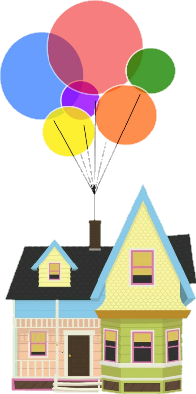 up movie pixar colorful rainbow home house balloons fam... png transparent