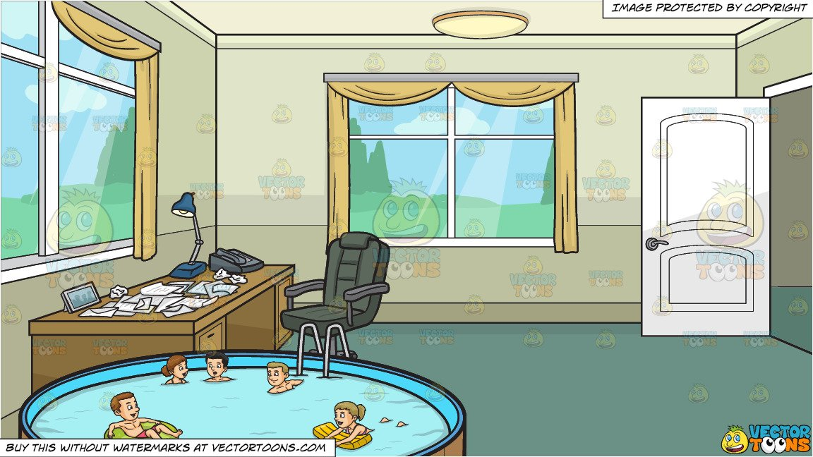 House with five people clipart png Five People Swimming In An Outdoor Pool and A Home Office Full Of Crumpled  Papers Background png