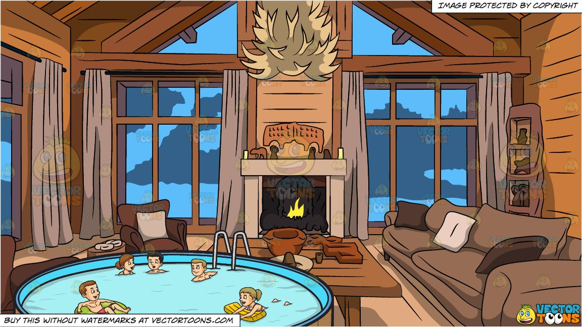 House with five people clipart png freeuse Five People Swimming In An Outdoor Pool and Wood Cabin Living Room  Background png freeuse