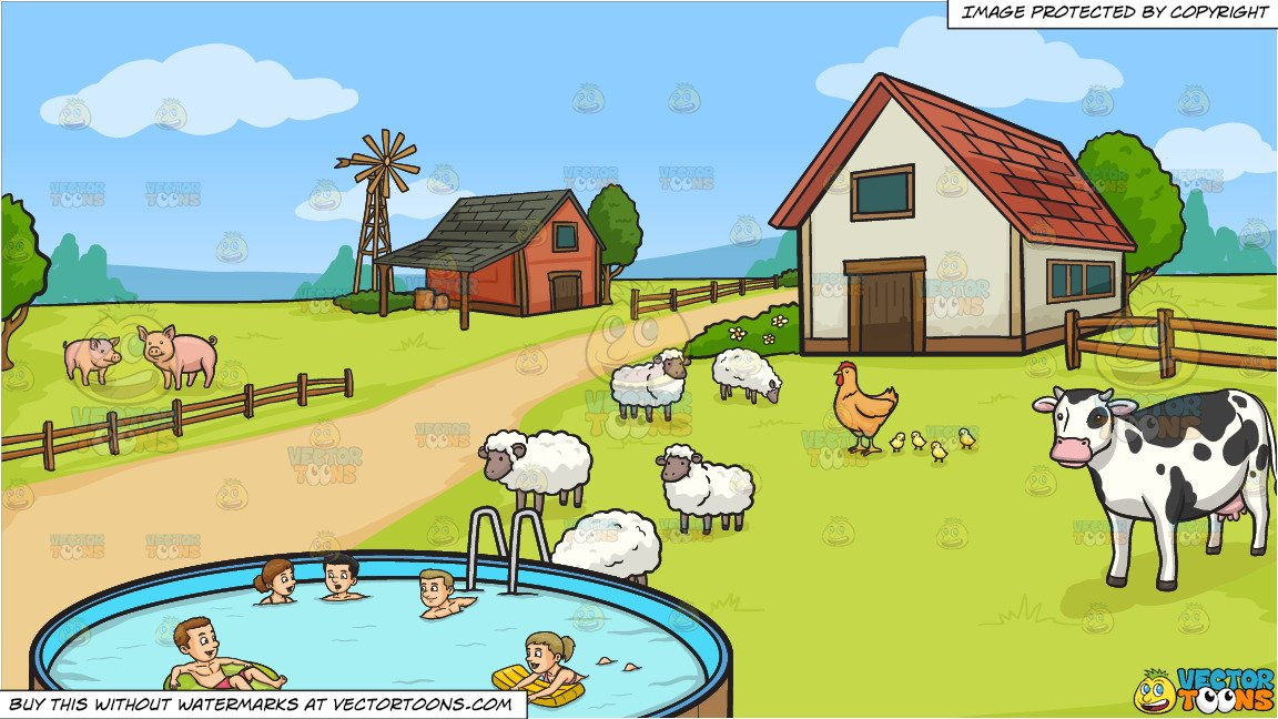 House with five people clipart clip stock Five People Swimming In An Outdoor Pool and A Farm Background clip stock
