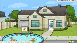 House with five people clipart clip art royalty free stock Five People Swimming In An Outdoor Pool and A House For Sale Background clip art royalty free stock