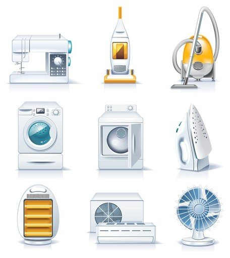 Household goods clipart vector library download Free household appliances icons Clipart and Vector Graphics ... vector library download
