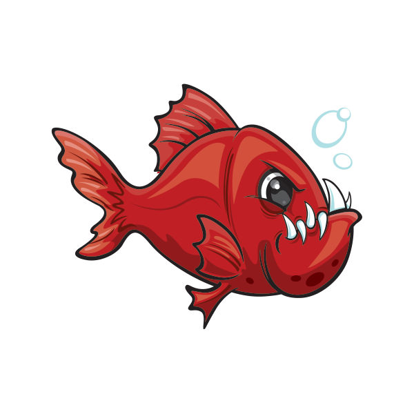 How to butcher a fish clipart picture black and white Printed vinyl Angry Red Piranha Fish | Stickers Factory picture black and white