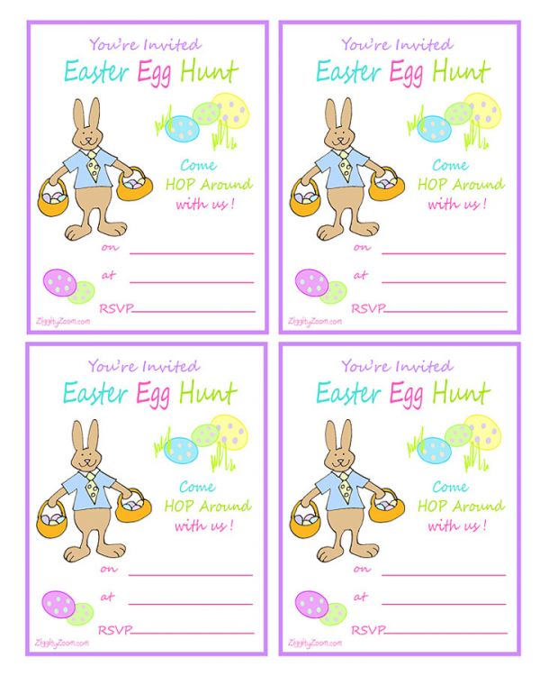 How to make easter egg hunt invitation clipart free vector transparent download Easter Egg Hunt Printable Invitation with Rabbit | Ziggity Zoom vector transparent download