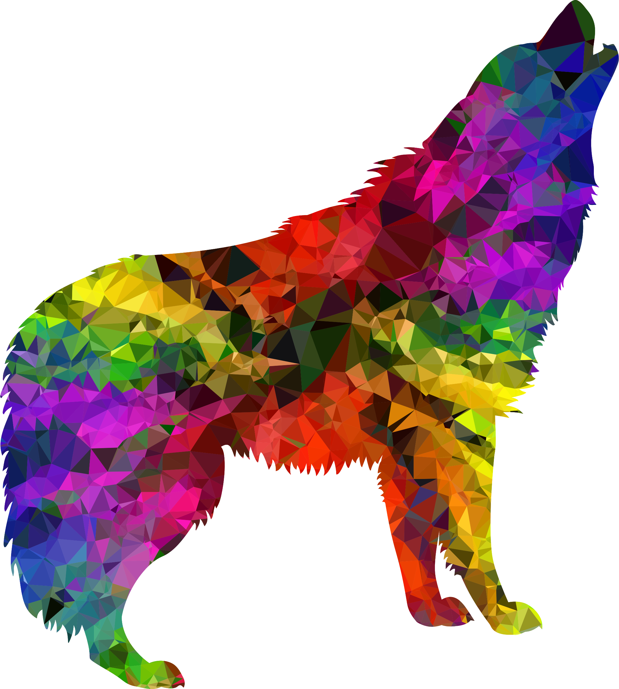 Clipart - Multispectral Gem Howling Wolf clip black and white